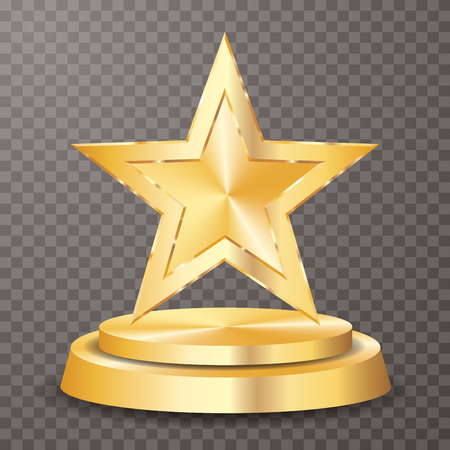 golden star on golden podium, vector background template for cosmetics, show business, sports or something else Vetores