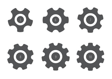 ensemble de six engrenages différents, illustration vectorielle