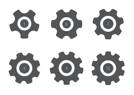 set of six different gears, vector illustration