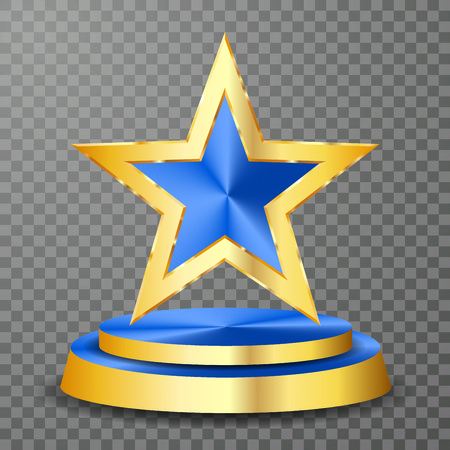 blue golden star on golden podium, vector background template for cosmetics, show business, sports or something else Vector Illustration