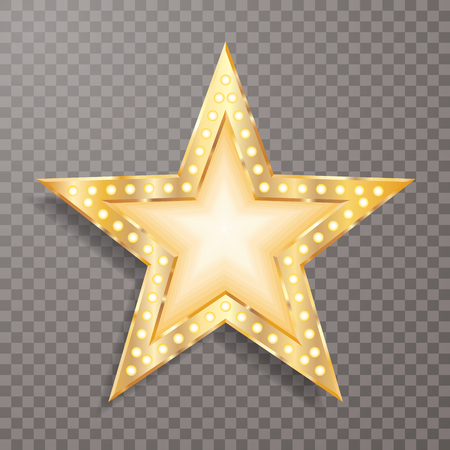 vector editable golden star with bulb lamps and transparent shadow