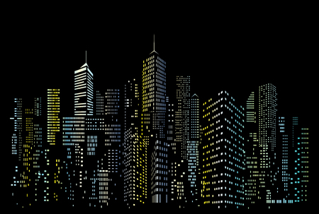 Modern City skyline, city silhouette with blue and yellow windows, vector illustration in flat design Çizim