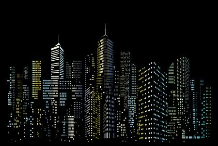 Skyline della città moderna, silhouette della città con finestre blu e gialle, illustrazione vettoriale in design piatto Vettoriali