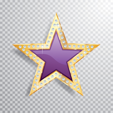 purple golden star with diamonds, vector template for cosmetics, show business or something else
