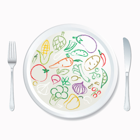 vector doodle hand drawn collection of vegetables on white plate Ilustração