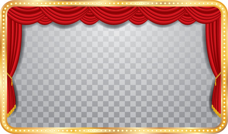 vector wide stage with red curtain, golden frame and transparent shadow