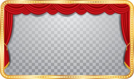 vettore ampio palco con tenda rossa, cornice dorata e ombra trasparente