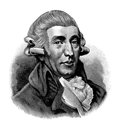zwektoryzowany stary rycina Josepha Haydna, rycina pochodzi z Leksykonu Meyersa opublikowanego w 1914 r. Ilustracje wektorowe