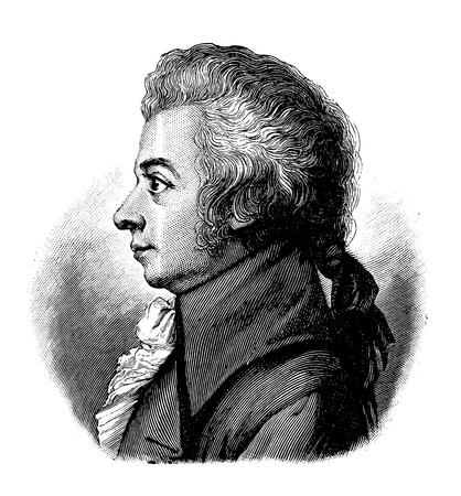 zwektoryzowany stary rycina Wolfganga Amadeusza Mozarta, rycina pochodzi z Leksykonu Meyersa opublikowanego w 1914 r. Ilustracje wektorowe