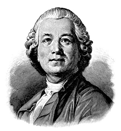vectorized old engraving of Christoph Willibald Gluck, engraving is from Meyers Lexicon published 1914
