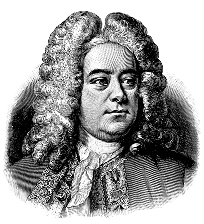 vectorized old engraving of Georg Friedrich Handel, engraving is from Meyers Lexicon published 1914 Stock Illustratie