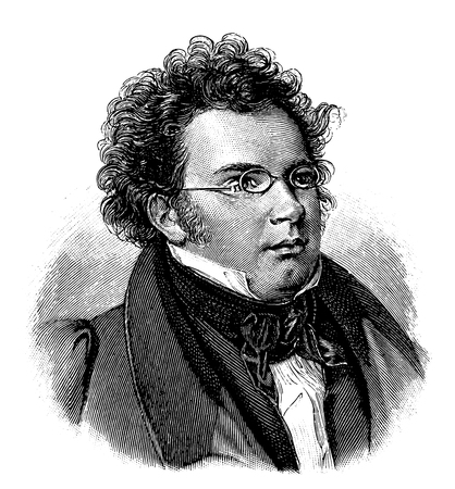 vectorized old engraving of Franz Schubert, engraving is from Meyers Lexicon published 1914 Foto de archivo - 117162974