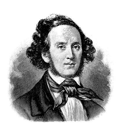 vectorized old engraving of Felix Mendelssohn, engraving is from Meyers Lexicon published 1914 Illustration