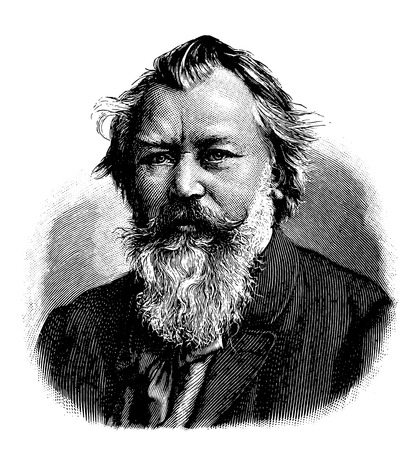vectorized old engraving of Johannes Brahms, engraving is from Meyers Lexicon published 1914 向量圖像