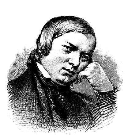 vectorized old engraving of Robert Schumann, engraving is from Meyers Lexicon published 1914 Illustration