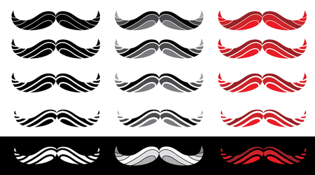 collection of the abstract moustache icons, vector illustration