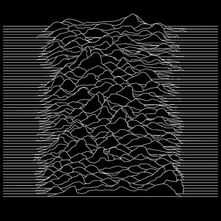 illustration de ligne abstraite avec paysage ou ondes sonores ou arrière-plan pour certaines recherches scientifiques Vecteurs