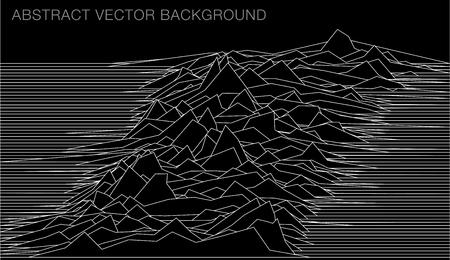illustrazione di linea astratta con paesaggio o onde sonore o sfondo per alcune ricerche scientifiche Vettoriali