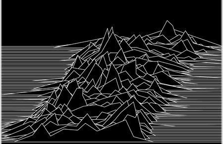 Ilustración de línea abstracta con paisaje u ondas sonoras o antecedentes para algunas investigaciones científicas