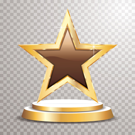 chocolate golden star on golden podium, vector template for cosmetics, show business, sports or something else