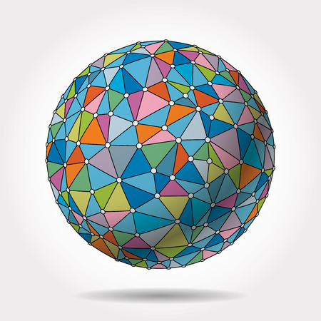 colorful sphere with net maked with triangles
