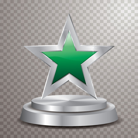 green silver star on silver podium, vector template for cosmetics, show business, sports or something else