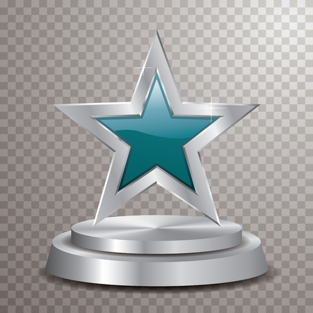 turquoise silver star on silver podium, vector template for cosmetics, show business, sports or something else