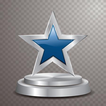 étoile argentée bleue sur podium argenté, modèle vectoriel pour les cosmétiques, le show business, le sport ou autre chose