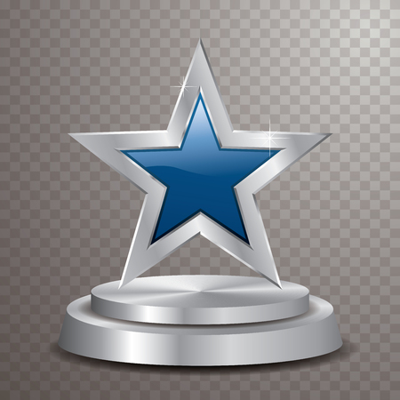 blue silver star on silver podium, vector template for cosmetics, show business, sports or something else