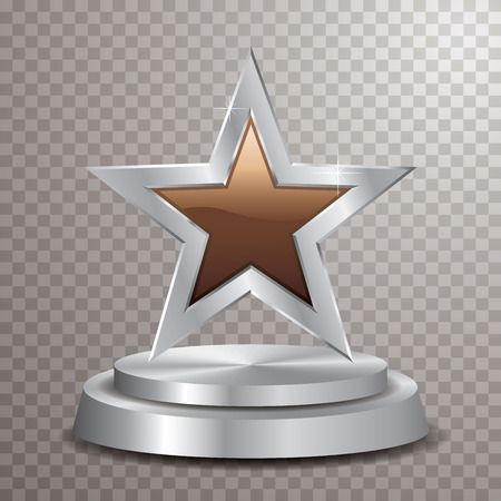 chocolate silver star on silver podium, vector template for food, show business, sports or something else
