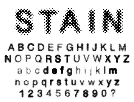 original vector dotted raster font, halftone grunge alphabet Illustration