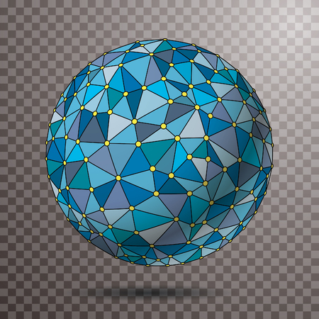 blue sphere with net maked with triangles and yellow dots Foto de archivo - 117163031