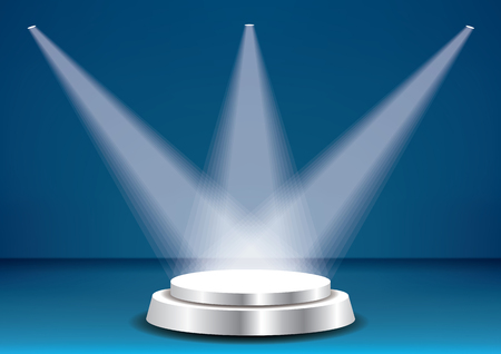 Empty vector blue pedestal in blue room interior with three spotlights. Template for product presentation with spotlight Vetores