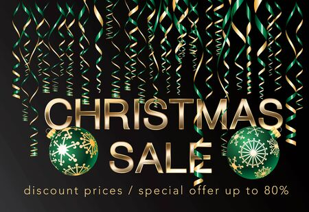 christmas sale in green and gold 免版税图像 - 148214994