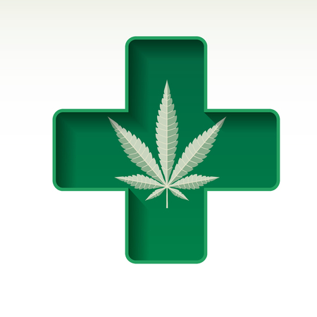 grass leaf on green cross, symbol of medical marijuana
