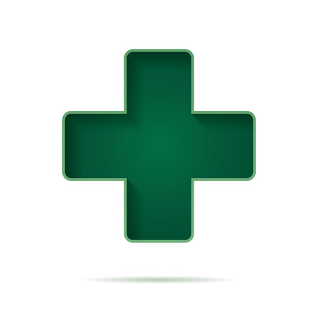 vector green cross pharmacy store sign flat icon for apps and websites
