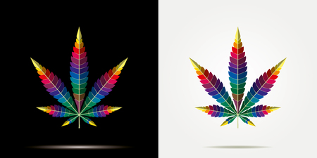 Cannabis marijuana hemp leaf flat icon on black background, vector green medicine weed, vector herb