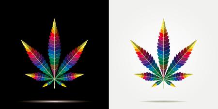 Icône plate de feuille de chanvre de marijuana de cannabis sur le fond noir, mauvaise herbe verte de médecine de vecteur, herbe de vecteur Vecteurs