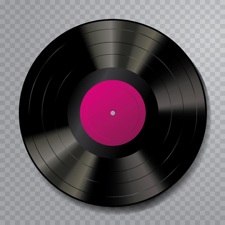 vector realistic illustration of vinyl long play record with dark rose label
