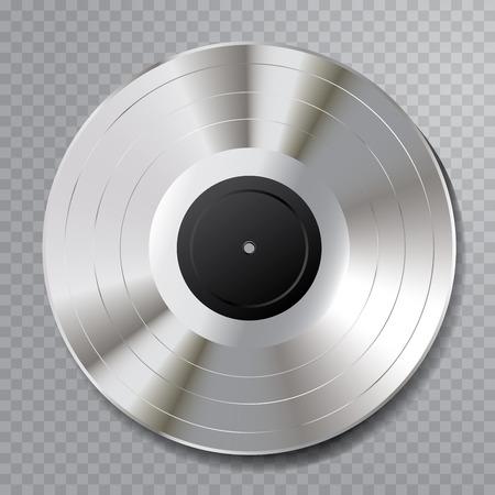 illustration vectorielle réaliste de la platine LP avec étiquette noire vierge Vecteurs