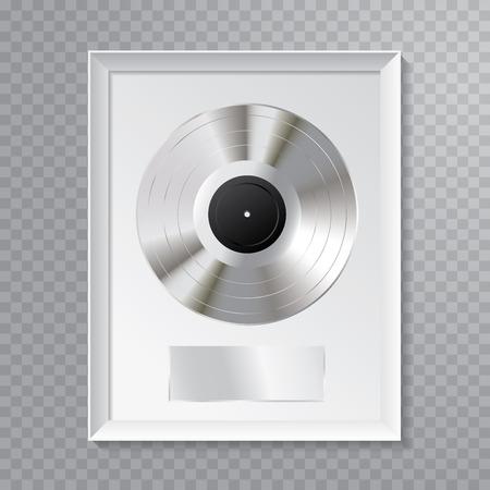 illustration vectorielle réaliste de la platine LP avec étiquette noire vierge et cadre blanc