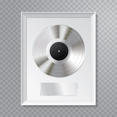 vector realistic illustration of the platinum LP with blank black label and white frame 版權商用圖片 - 125016562