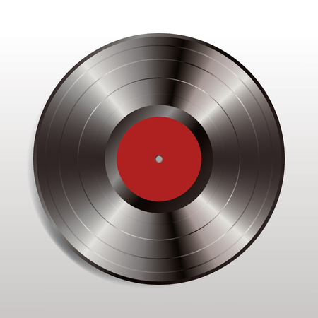 vector realistic illustration of vinyl long play record with dark red label
