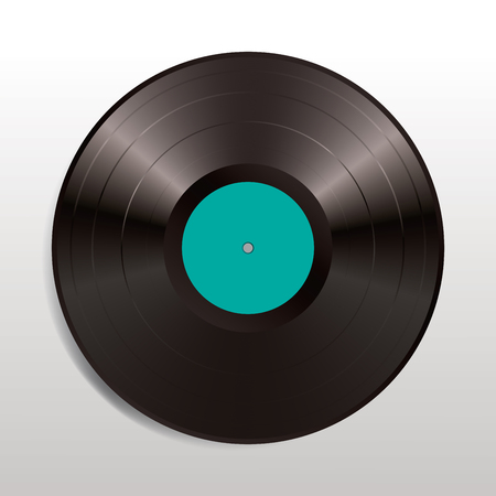 vector realistic illustration of vinyl long play record with turquoise label Иллюстрация