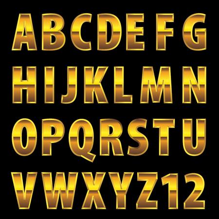 golden font, editable vector alphabet