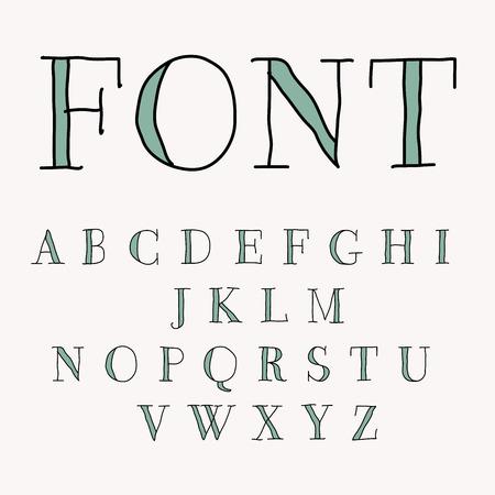 hand drawn alphabet, vectot editable grouped illustration