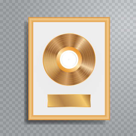 vector realistic illustration of the golden LP with blank white label in golden frame