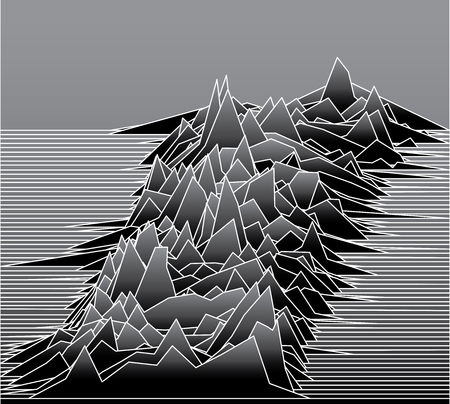 abstract line illustration with landscape or sound waves or background for some scientific research Vettoriali
