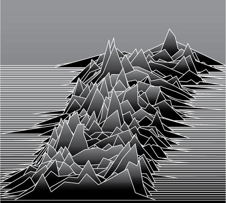Ilustración de línea abstracta con paisaje u ondas sonoras o antecedentes para algunas investigaciones científicas Ilustración de vector