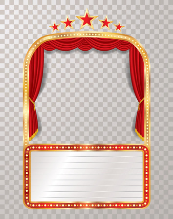 vector stage with five stars and blank billboard - Vector illustration